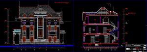 Bản CAD mặt bên mặt cắt biệt thự 3 tầng