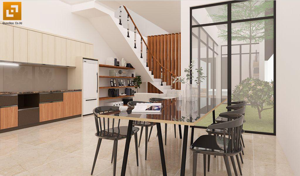Cầu thang bố trí từ phòng bếp