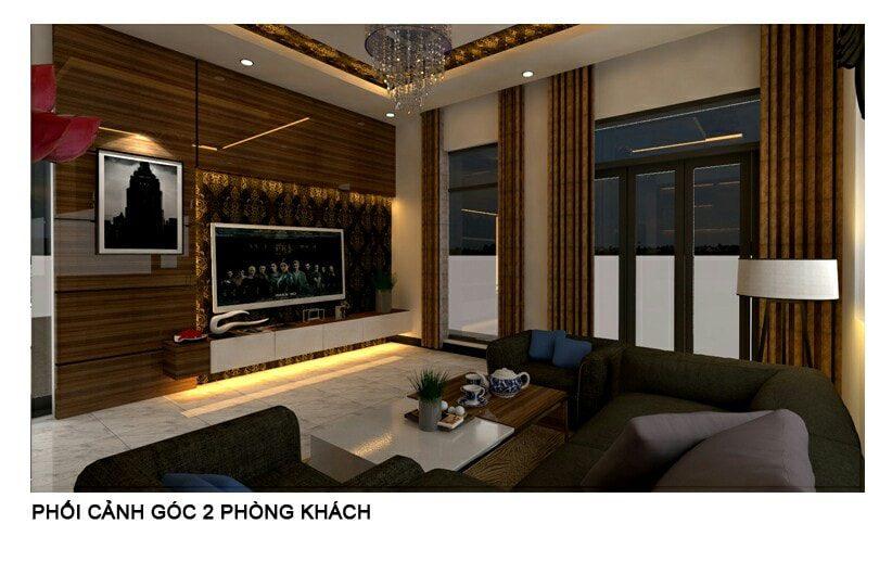 Thiết kế nội thất phòng khách Biệt thự nhà anh Khánh Biên Hòa - Đồng Nai