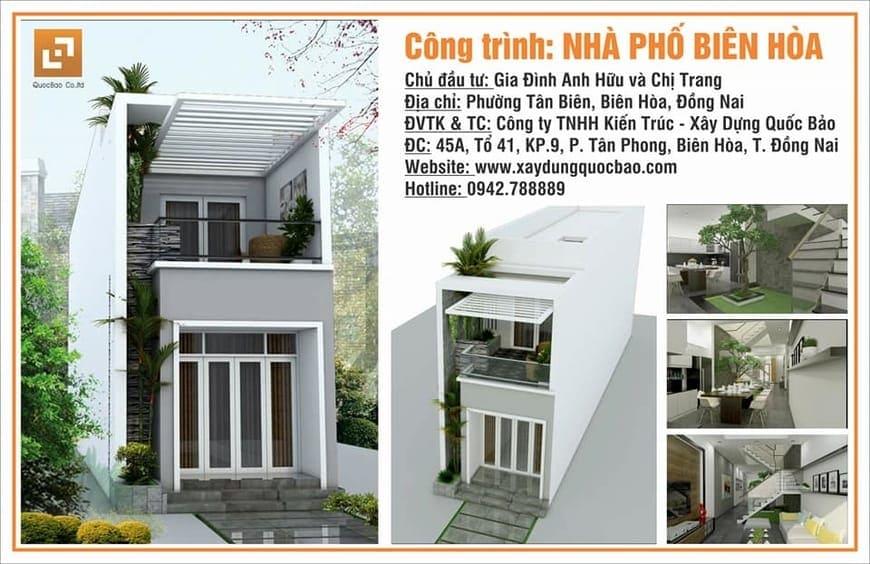 Thiết kế Thi công Nhà phố tại Hố Nai - Biên Hòa