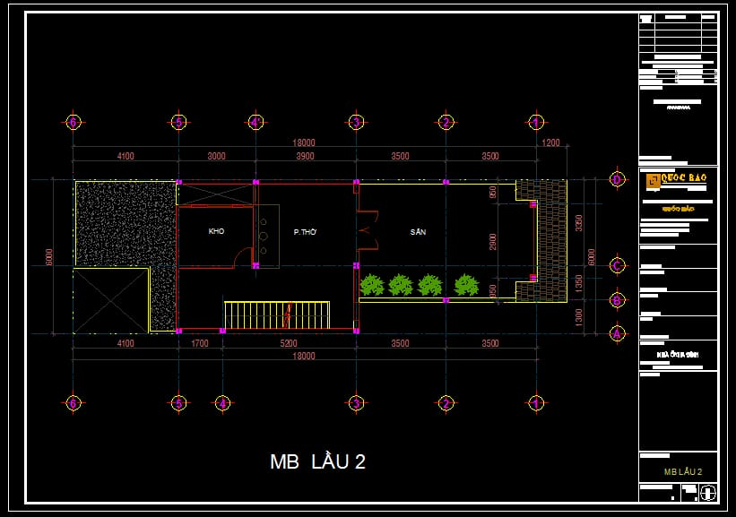 Bản vẽ kiến trúc mặt bằng lầu 2 nhà phố