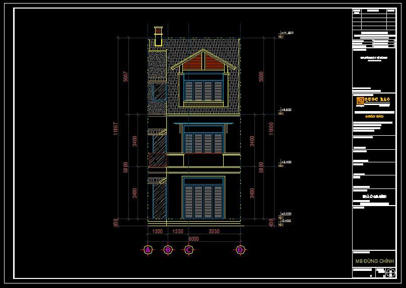 Bản vẽ kỹ thuật mặt đứng chính của ngôi nhà