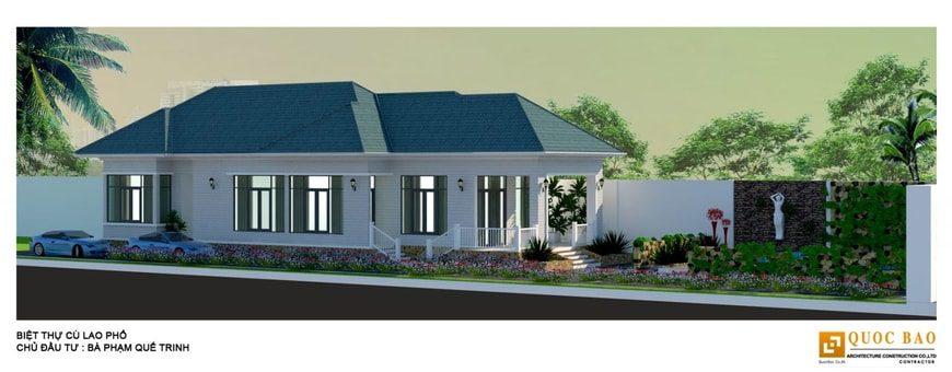 Biệt thự 1 tầng sử dụng 2 màu chủ đạo là trắng xanh hòa quyện cùng khu vườn tạo nét đẹp kiều diễm