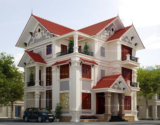Mẫu biệt thự 3 tầng với 2 mặt tiền