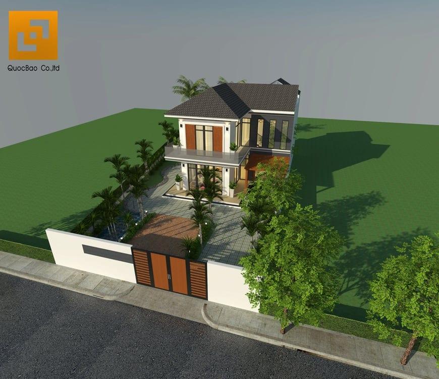 Kiến trúc biệt thự sử dụng nhiều khung cửa kính để tận dụng triệt để ánh sáng tự nhiên vào trong nhà