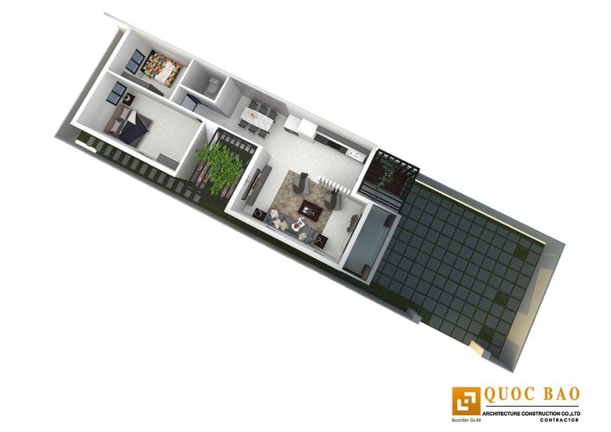 Công năng tầng trệt gồm phòng khách, phòng bếp, phòng ăn, phòng ngủ và phòng vệ sinh
