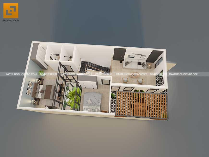 Bố trí mặt bằng công năng tầng trệt nhà mái chéo hiện đại
