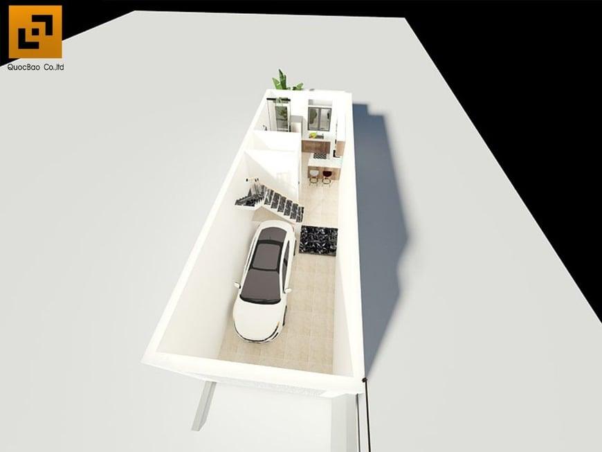 Mặt bằng công năng tầng 1 nhà phố hiện đại 4 tầng
