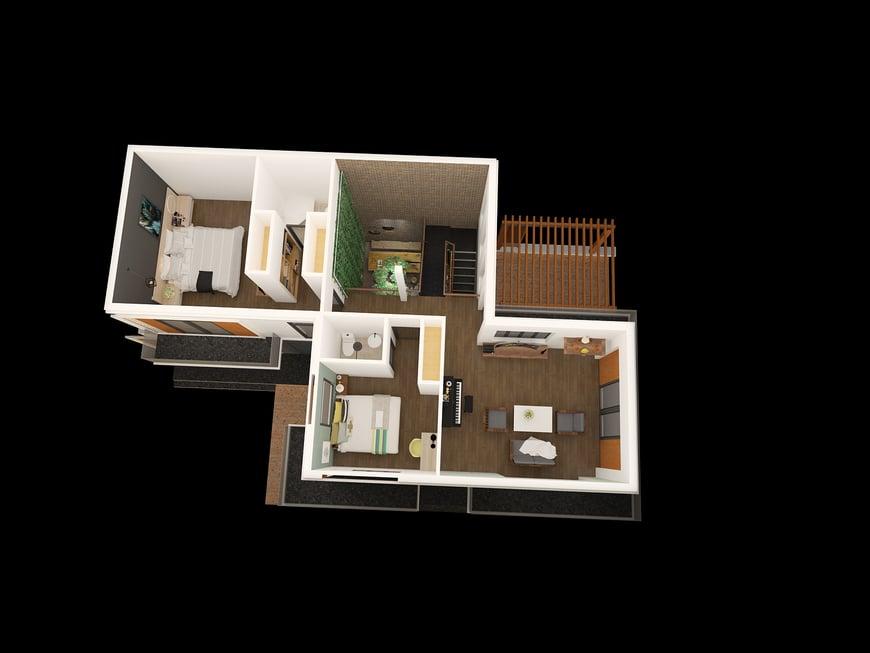 Bố trí mặt bằng công năng lầu 1 gồm phòng sinh hoạt chung kết hợp phòng thờ, 2 phòng ngủ khép kín