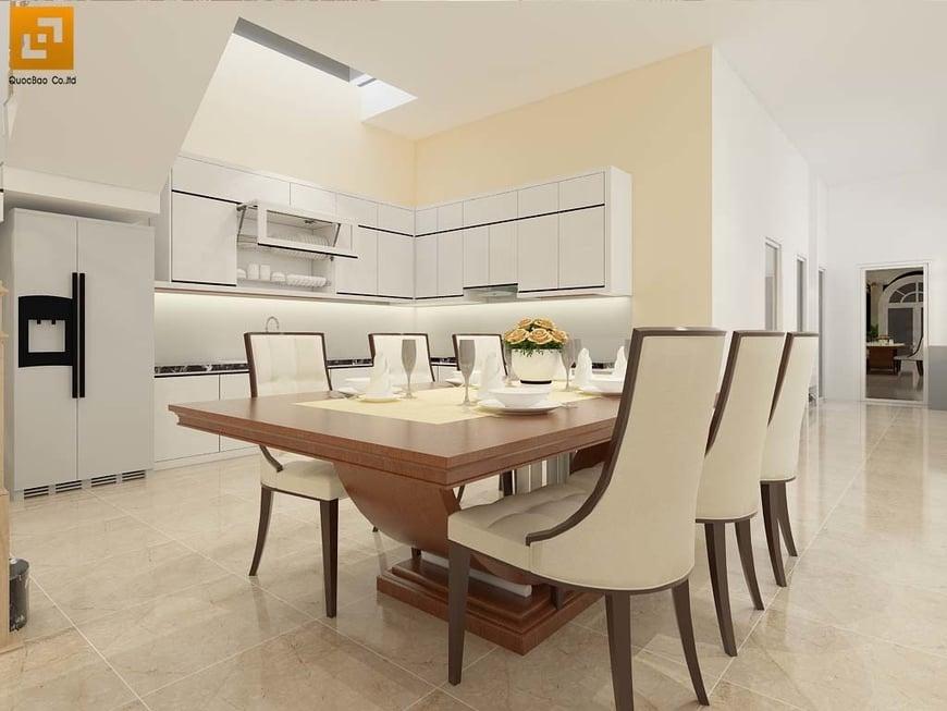 Phòng ăn được bố trí trong nhà bếp rất tiện lợi cho các thành viên cả gia đình quây quần bên nhau bên bữa cơm ấm áp