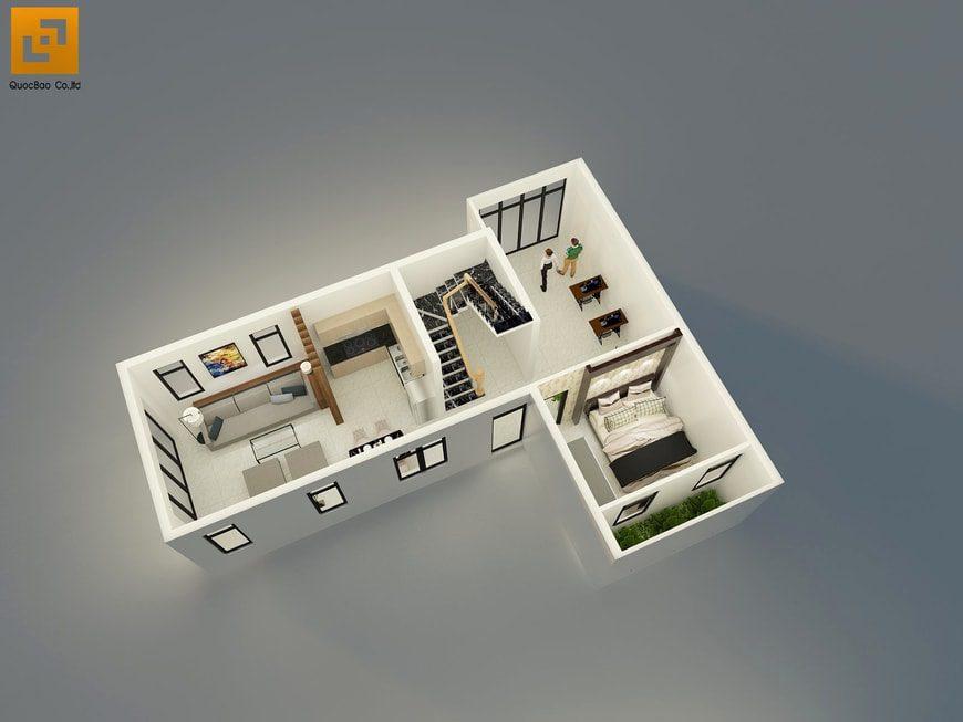 Bố trí mặt bằng tầng trệt gồm phòng khách, phòng bếp, phòng học và phòng ngủ