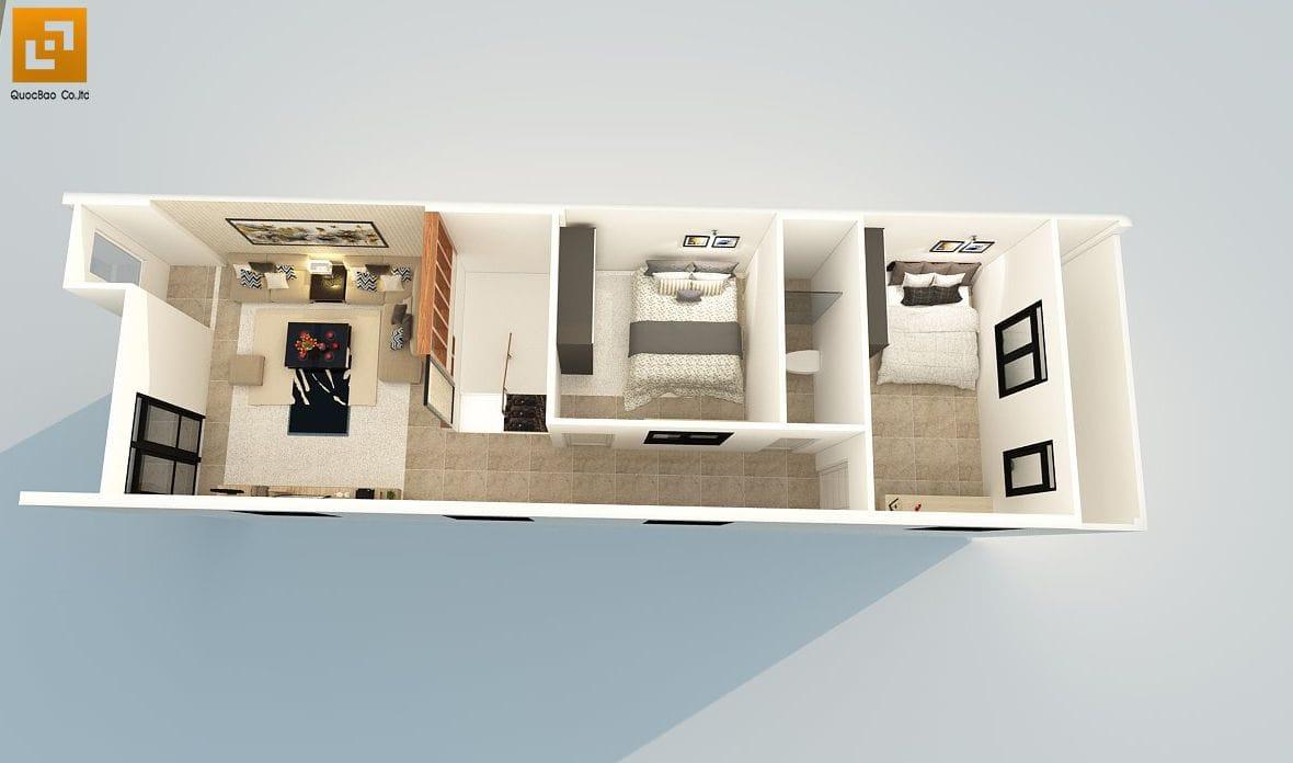 Thiết kế công năng tầng 2 gồm phòng đọc sách, phòng ngủ và phòng vệ sinh