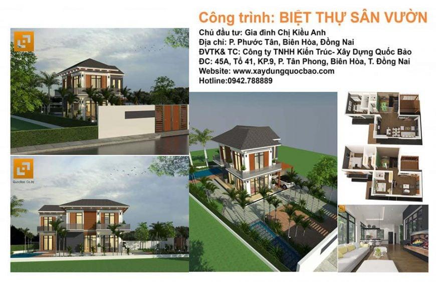 Công trình biệt thự sân vườn nhà vườn chị Kiều Anh tại Tp. Biên Hòa - Đồng Nai