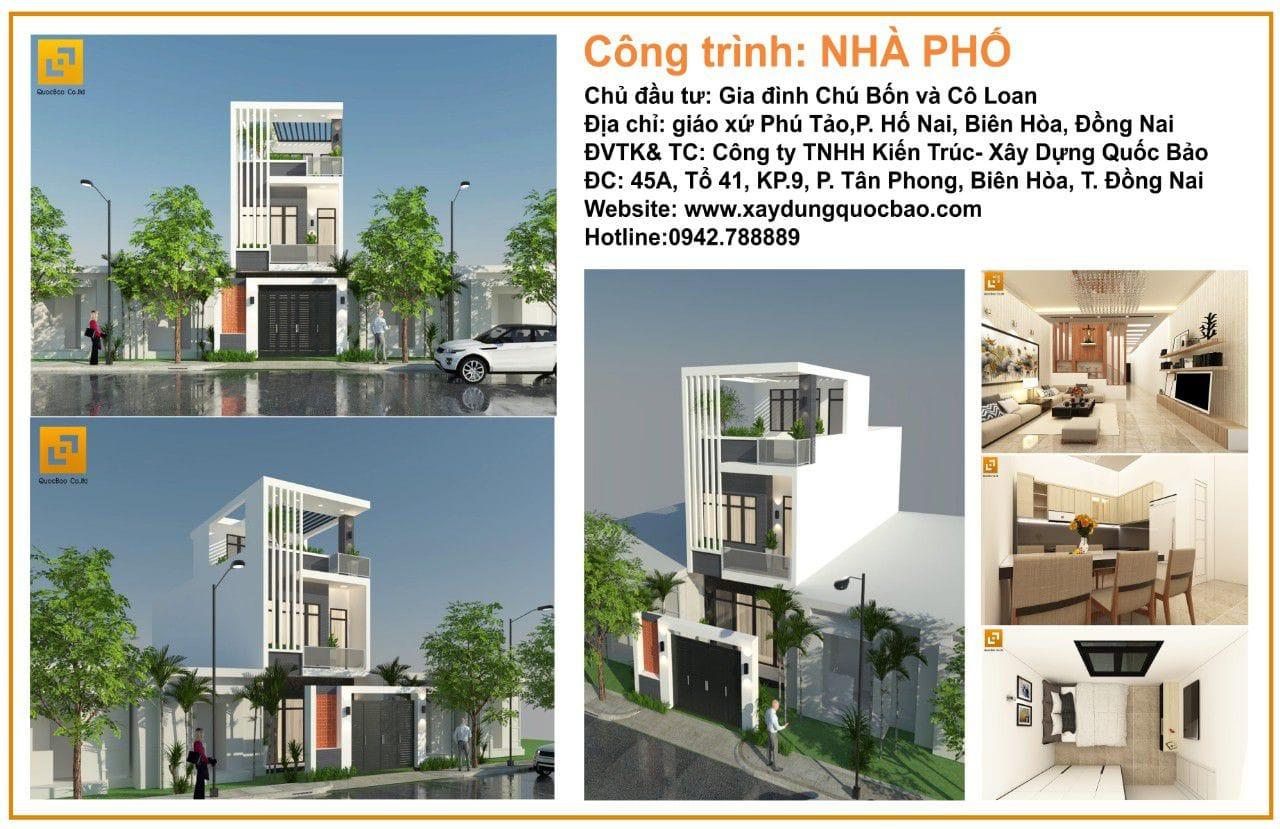Công trình nhà phố chú Bốn cô Loan tại P. Hố Nai, Tp. Biên Hòa, T. Đồng Nai