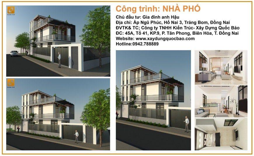 Công trình thiết kế thi công nhà phố hiện đại anh Hậu tại Trảng Bom - Đồng Nai
