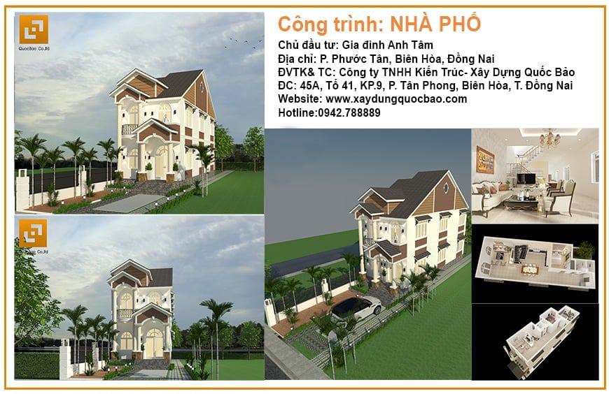 Công trình thiết kế xây dựng nhà phố Tân cổ điển anh Tâm tại P. Phước Tân, Tp. Biên Hòa, Đồng Nai