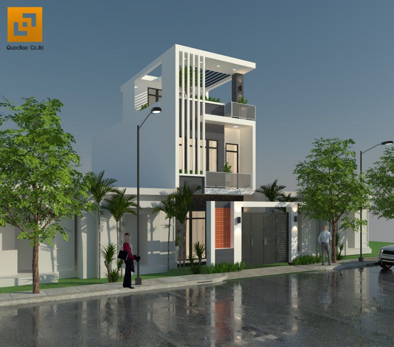 Giữa lòng phố thị đông đúc, việc bố trí nhiều mảng xanh sẽ khiến cho ngôi nhà trở nên tươi mát hơn
