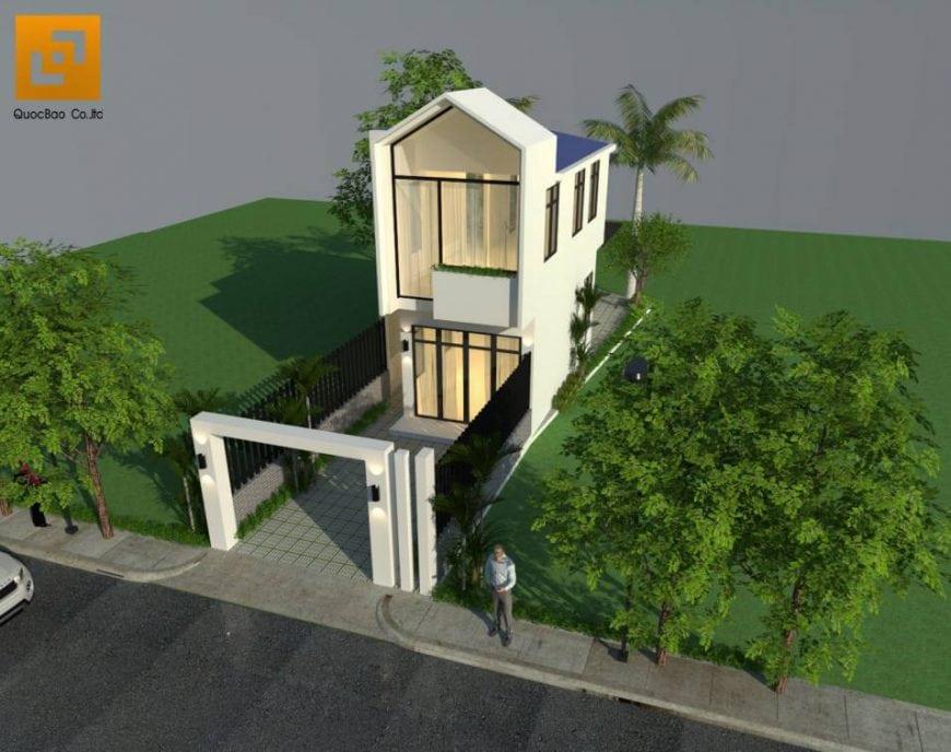 Thiết kế nhà phố anh Phương - Góc 2