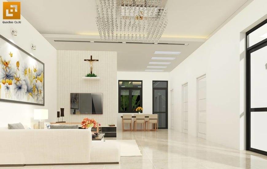 Phòng khách rộng rãi, đầy đủ tiện nghi
