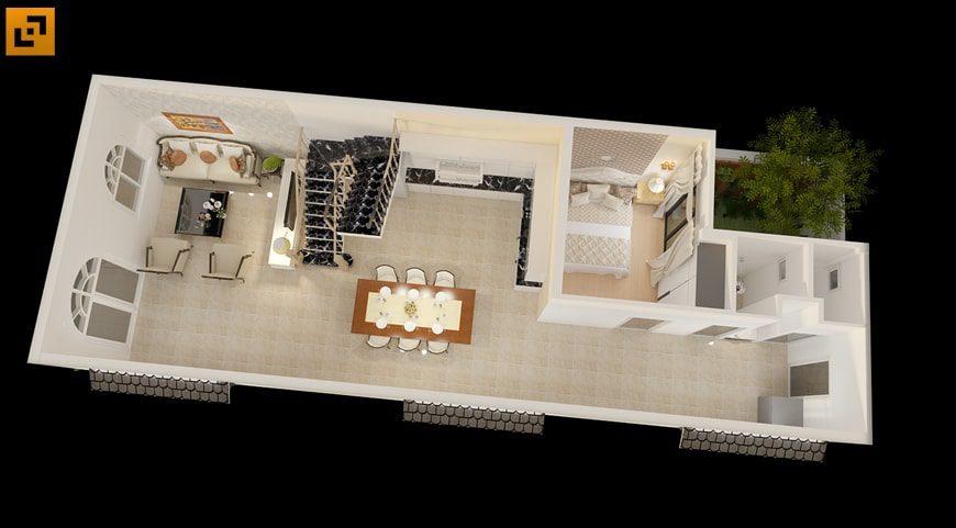 Mặt bằng công năng tầng 1 gồm phòng khách, phòng ăn, phòng ngủ và nhà vệ sinh