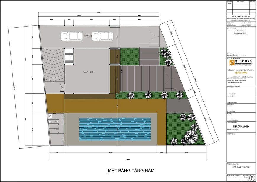Mặt bằng tầng hầmbiệt thự sân vườn hiện đại gia đình anh Trịnh tại Hố Nai - Biên Hòa