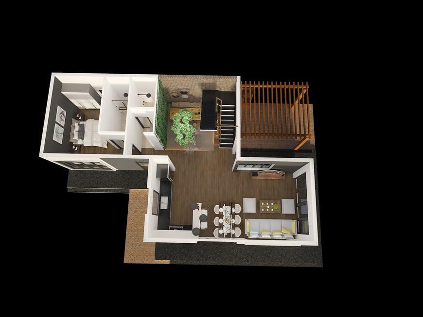 Mặt bằng tầng trệt biệt thự nhà vườn đầy đủ các phòng chức năng tiện nghi
