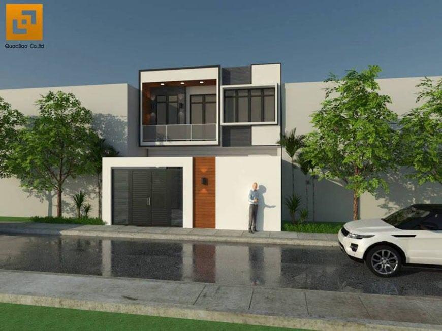 Mặt tiền nhà phố hiện đại gia đình anh Bằng