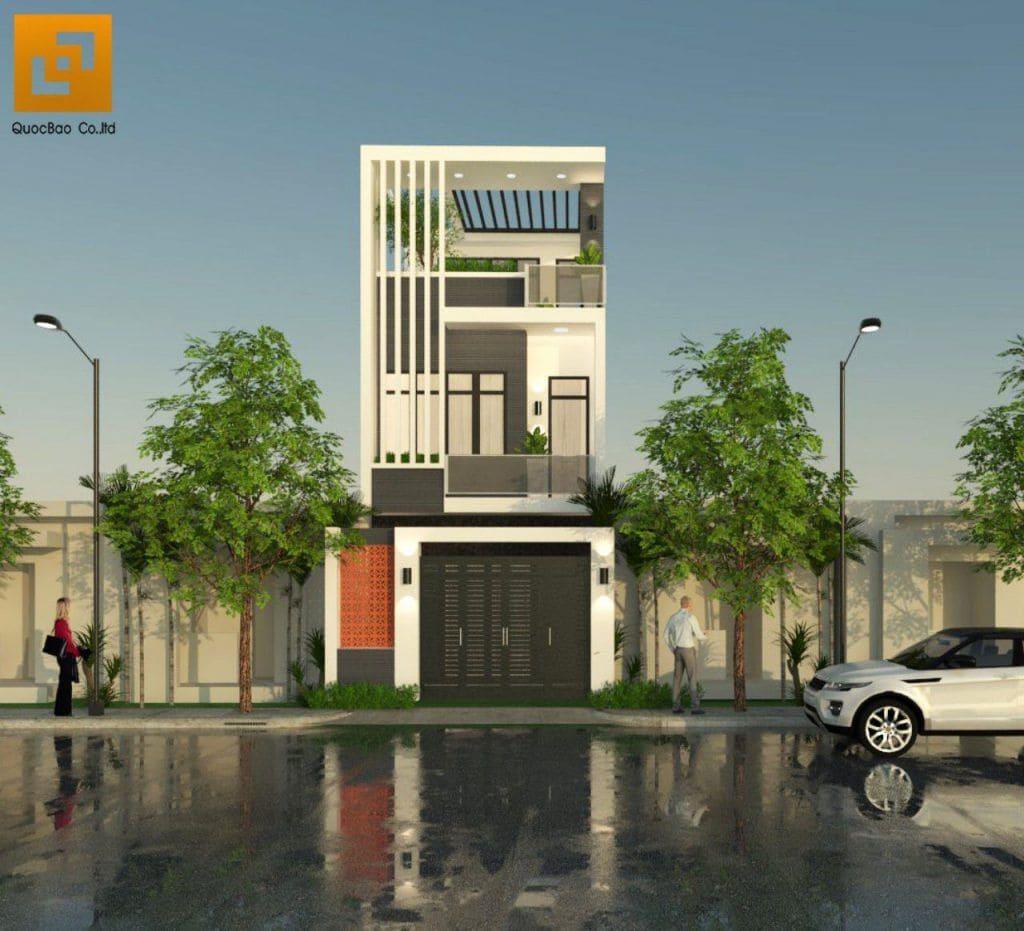 Mặt tiền của ngôi nhà hiện đại tại Biên Hòa
