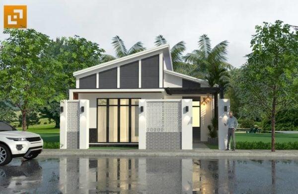 Mặt tiền nhà sử dụng nhiều gạch thông gió tạo sự thông thoáng và tăng tính mỹ thuật cho ngôi nhà