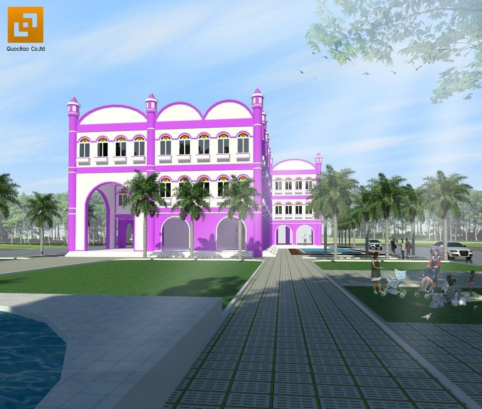 Mặt tiền trường mầm non Quốc tế Hoa Tím tại Biên Hòa - Đồng Nai