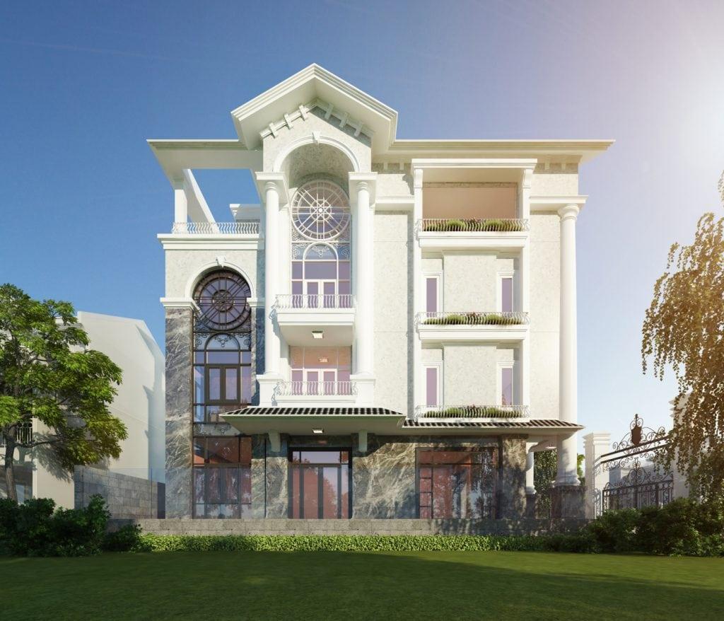 Mẫu nhà mái thái 4 tầng thiết kế đẹp