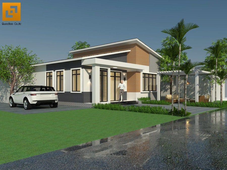 Phối cảnh mặt tiền Villa hiện đại