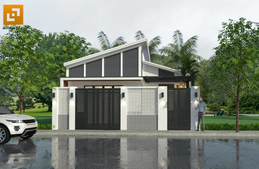 Ngôi nhà phố mái thái sử dụng 2 màu cơ bản trắng đen làm nổi bật sự tương phản