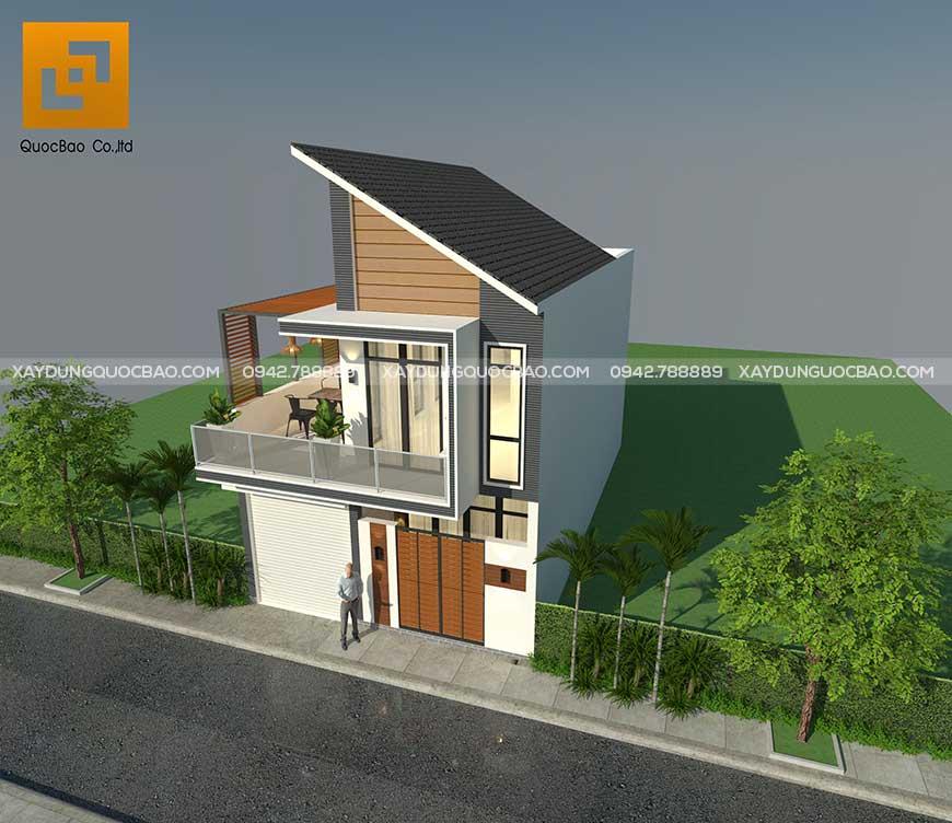 Điểm nhấn nổi bật của căn nhà là mái thái cách tân bắt mắt