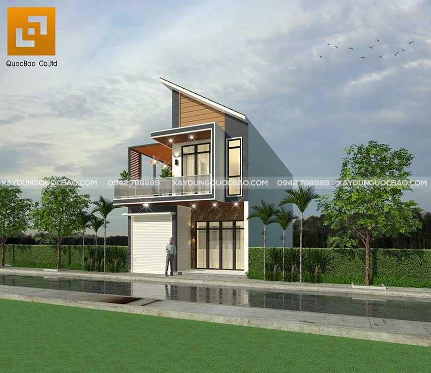 Nhà phố thiết kế gara đậu ô tô nhỏ gọn phía bên trái sảnh chính tiện lợi cho chủ nhà khi cần di chuyển