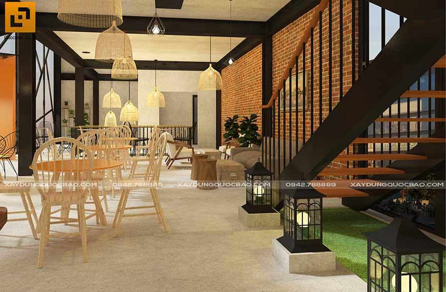 Hiệu ứng ánh sáng màu dễ chịu tạo cảm giác thoải mái khi khách lần đầu đến với quán