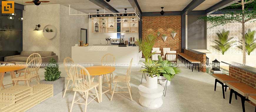 Thiết kế nội thất lầu 2 quán Cafe đẹp tại Biên Hòa, Đồng Nai