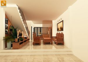 Nội thất phòng khách sử dụng bàn ghế gỗ tự nhiên tạo sự trang trọng