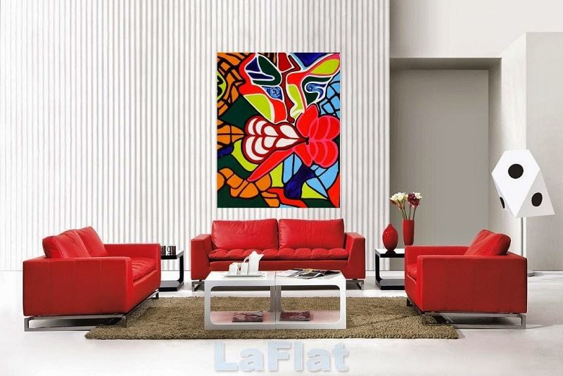 Nội thất phòng khách với sự phối hợp đỏ - trắng sống động