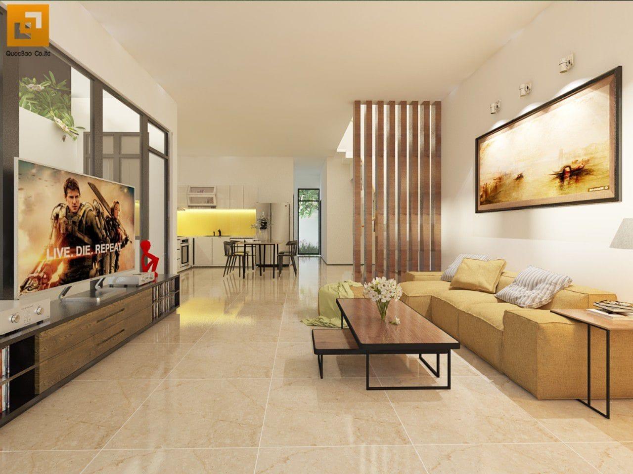 Nội thất phòng khách nhà phố gia đình anh Giang - Biên Hòa