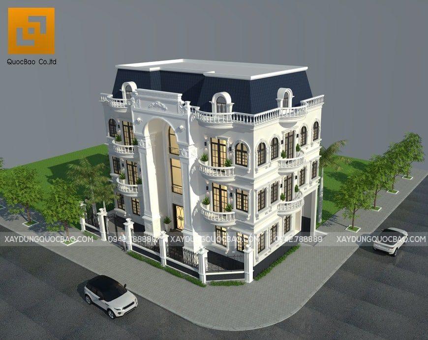 Phối cảnh tổng thể Biệt thự Cổ điển phong cách Pháp tại Biên Hòa - Đồng Nai