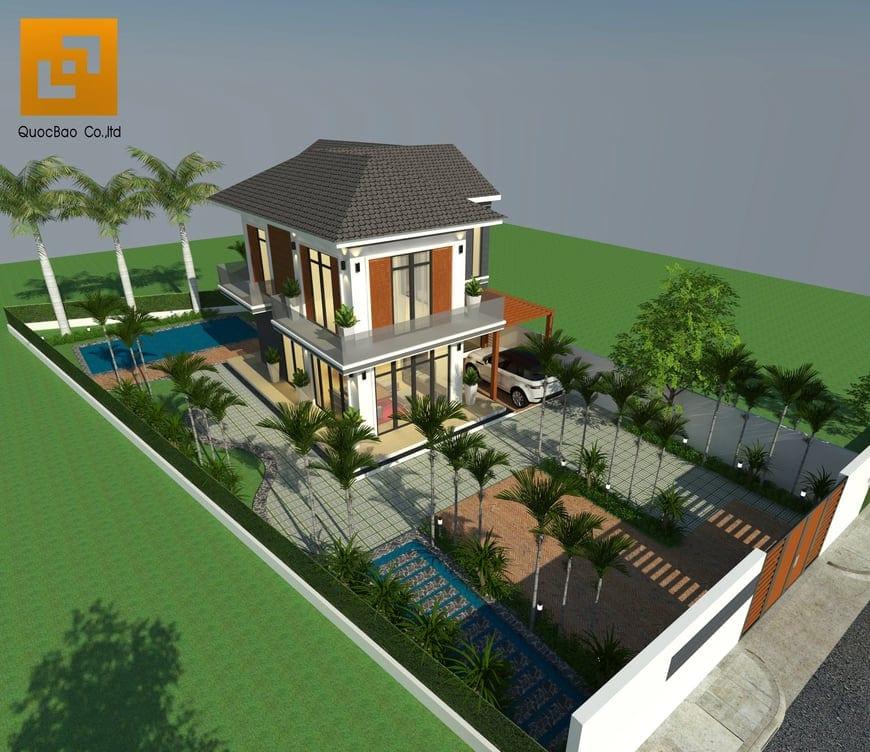 Phối cảnh tổng thể biệt thự sân vườn chị Kiều Anh