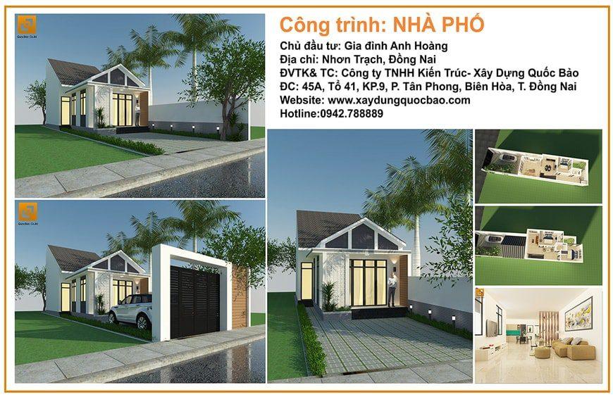 Phối cảnh tổng thể nhà Phố anh Hoàng tại Nhơn Trạch Đồng Nai