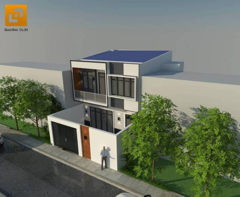 Phối cảnh tổng thể nhà phố hiện đại gia đình anh Bằng tại Biên Hòa - Đồng Nai