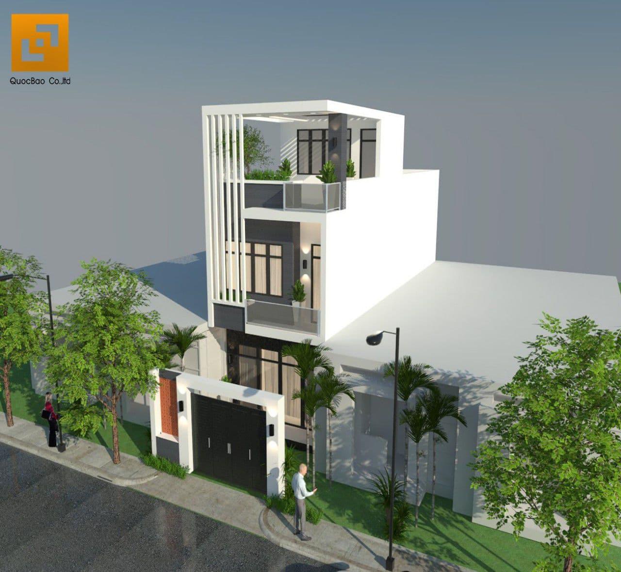 Phối cảnh tổng thể ngôi nhà phố hiện đại