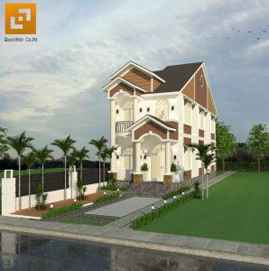 Phối cảnh tổng thể ngôi nhà Phố tân cổ điển gia đình anh Tâm tại Biên Hòa
