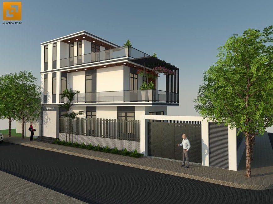 Phối cảnh tổng thể nhà phố hiện đại anh Hậu tại Trảng Bom
