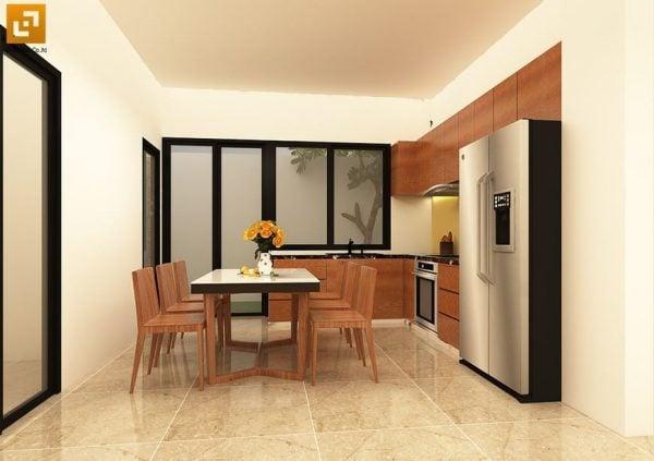 Phòng bếp sử dụng nội thất gỗ tự nhiên tạo sự tinh tế, trang nhã