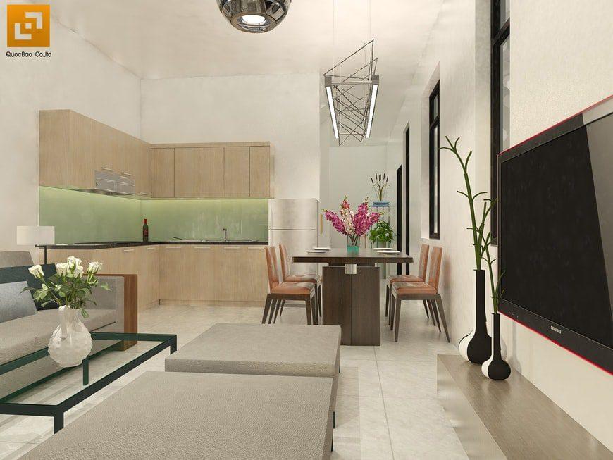 Phòng bếp thiết kế liền kề phòng khách tạo sự thông thông thoáng