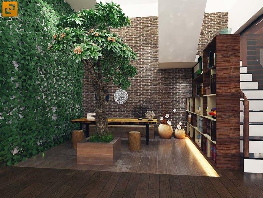 Phòng đọc sách trồng thêm cây xanh thân thiện môi trường